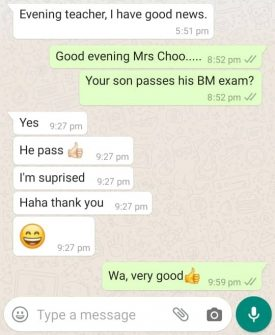 Testimonials for Home tuition in Malaysia